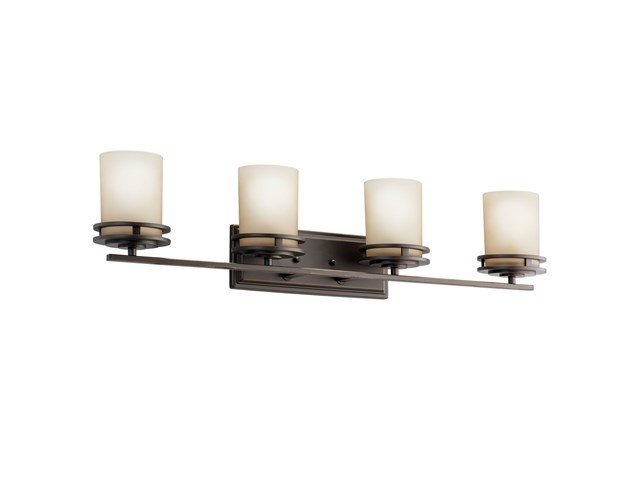 "Hendrik™ 33.75"" 4 Light Vanity with Light Umber Etched Glass Olde Bronze®"