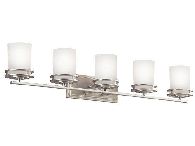 "Hendrik™ 43"" 5 Light Vanity Light with Satin Etched Cased Opal Brushed Nickel"
