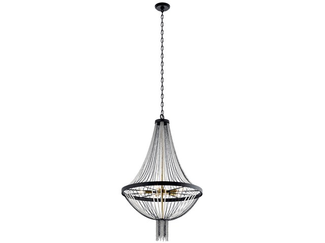 "Alexia 39.5"" 5 Light Chandelier with Crystal Beads Textured Black"