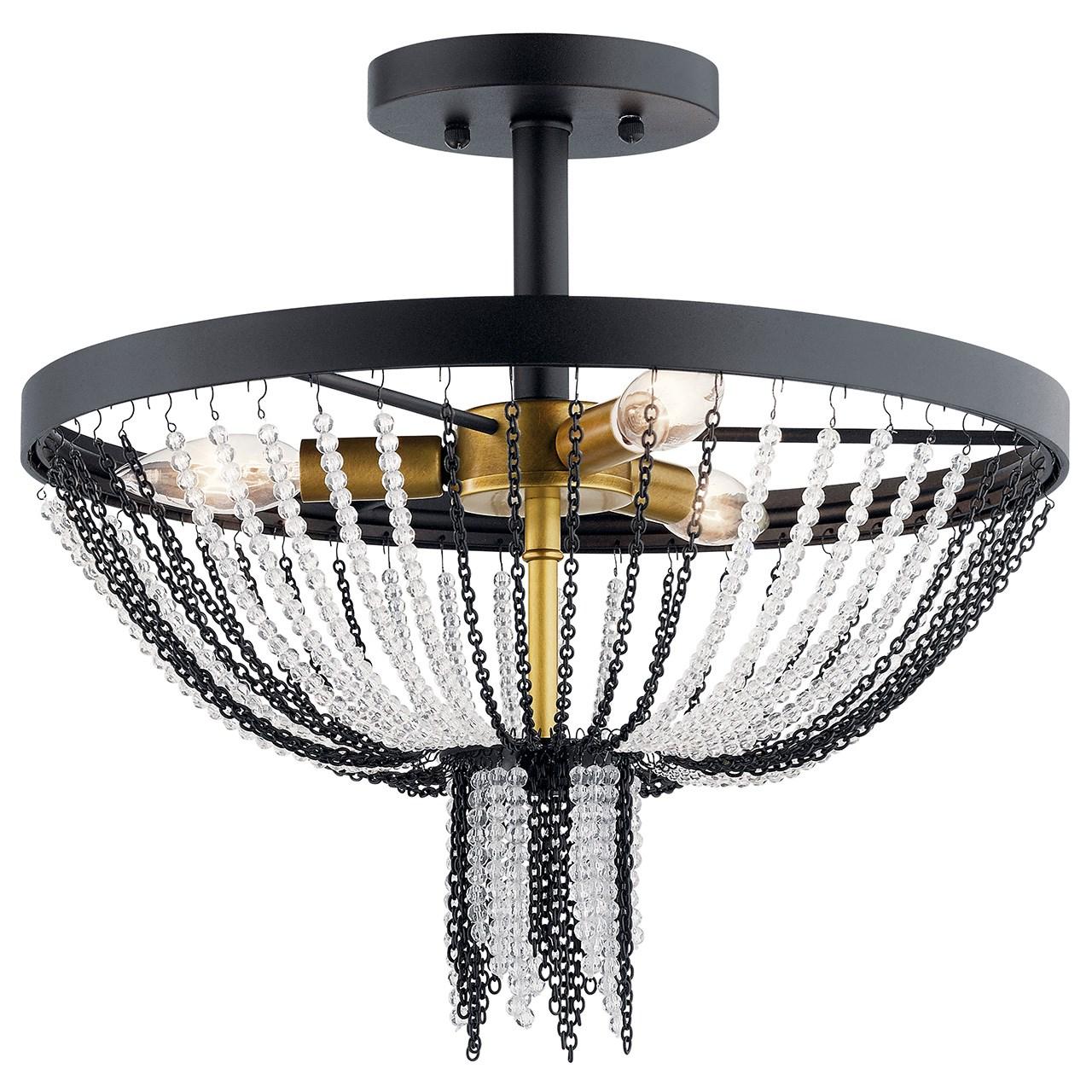 Alexia 16 3 Light Semi Flush With Crystal Beads Textured Black Kichler Lighting