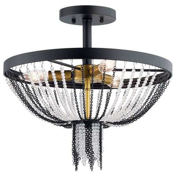 "Alexia 16"" 3 Light Semi Flush with Crystal Beads Textured Black"