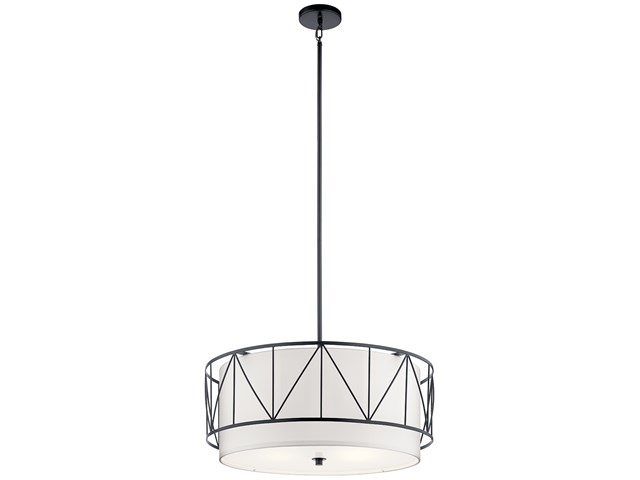 "Birkleigh™ 11.5"" 4 Light Pendant with Satin Etched Glass Black"