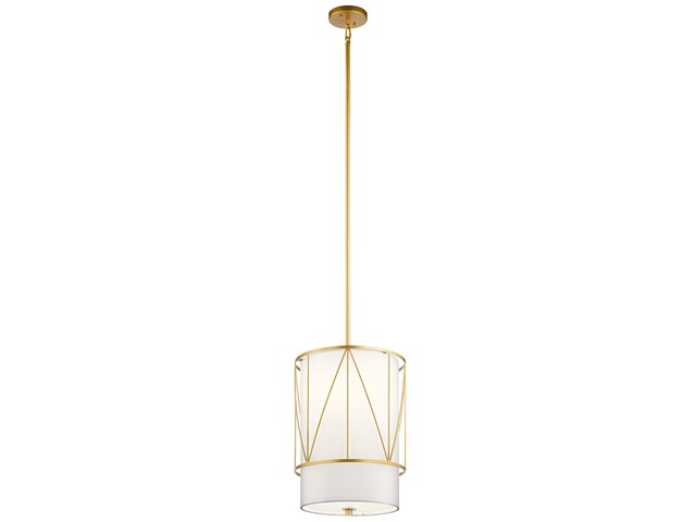 "Birkleigh™ 18.25"" 1 Light Pendant with Satin Etched Glass Classic Gold"
