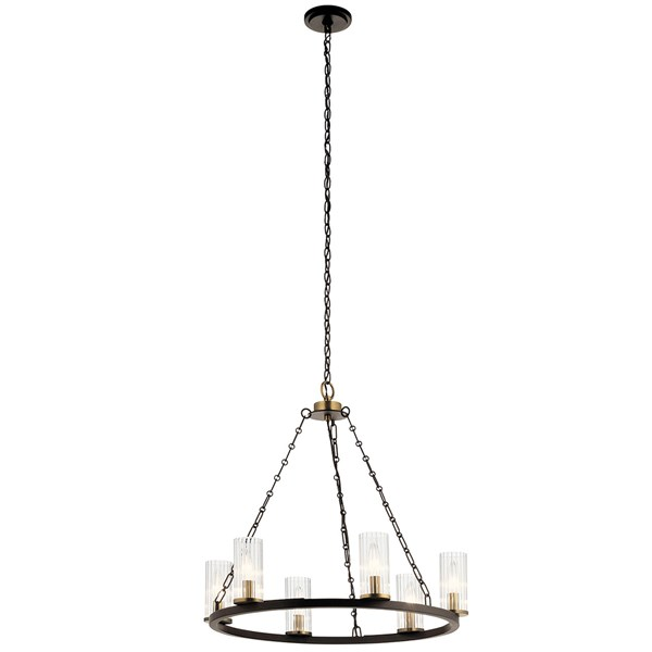 "Mathias 23"" 6 Light Chandelier with Clear Ribbed Glass Olde Bronze"