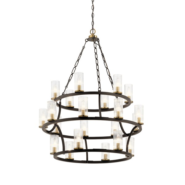 "Mathias 41.5"" 21 Light 3 Tier Chandelier with Clear Ribbed Glass Olde Bronze"