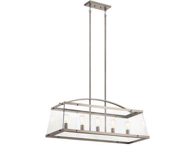 "Darton™ 40.75"" 5 Light Linear Chandelier with Clear Glass Classic Pewter"