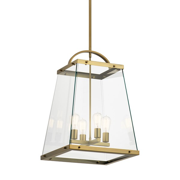 "Darton™ 25.75"" 4 Light Large Foyer Pendant with Clear Glass Brushed Natural Brass"