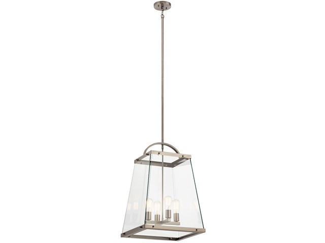"Darton™ 25.75"" 4 Light Large Foyer Pendant with Clear Glass Classic Pewter"