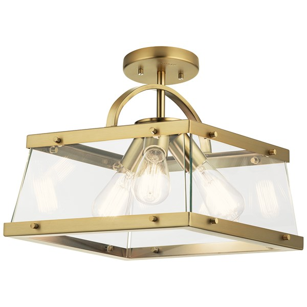 "Darton™ 13.75"" 3 Light Convertible Pendant/Semi Flush with Clear Glass Brushed Natural Brass"
