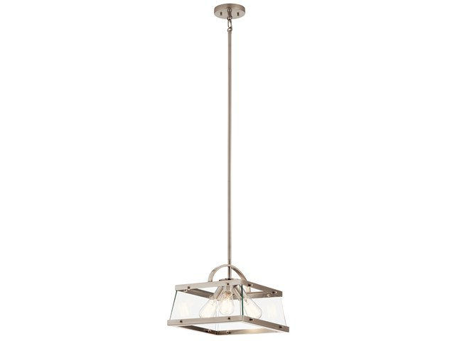"Darton™ 13.75"" 3 Light Convertible Pendant/Semi Flush with Clear Glass Classic Pewter"