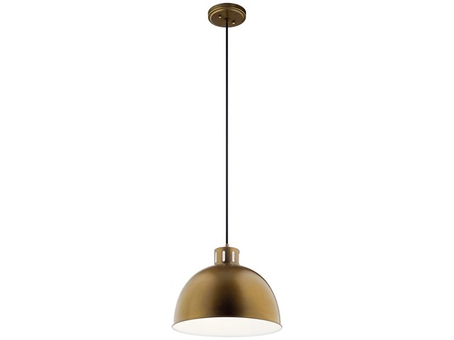 "Zailey™ 12.5"" 1 Light Pendant Natural Brass"