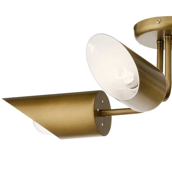 Trentino 4 Light Semi Flush Natural Brass
