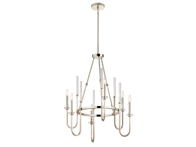 "Kadas™ 36.25"" 6 Light Chandelier with Clear Crystal Glass Polished Nickel"