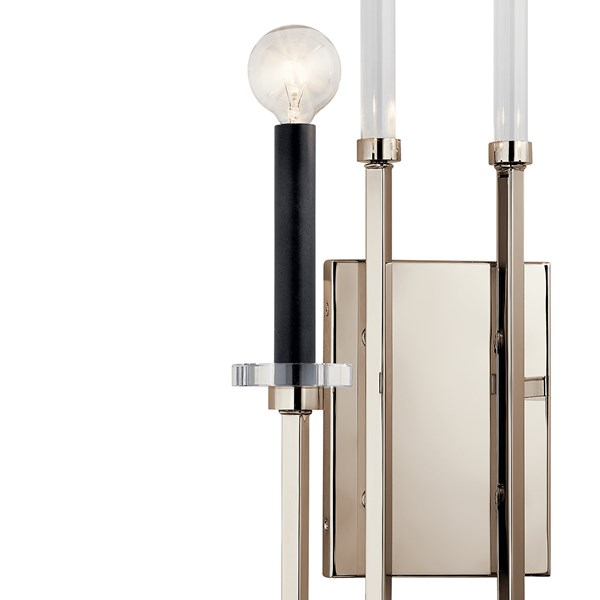 "Kadas™ 22"" 2 Light Wall Sconce with Clear Crystal Glass Polished Nickel"