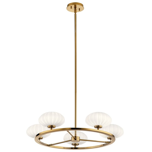 "Pim™ 40"" 5 Light Round Chandelier with Satin Etched Cased Opal Glass Fox Gold"