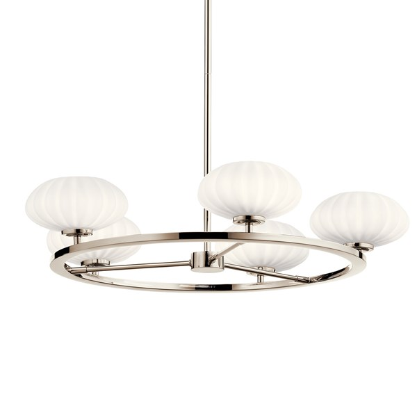 "Pim™ 40"" 5 Light Round Chandelier with Satin Etched Cased Opal Glass Polished Nickel"