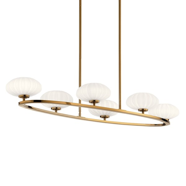 "Pim™ 39"" 6 Light Oval Chandelier with Satin Etched Cased Opal Glass Fox Gold"