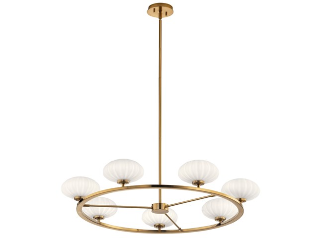 "Pim™ 40"" 7 Light Round Chandelier with Satin Etched Cased Opal Glass Fox Gold"