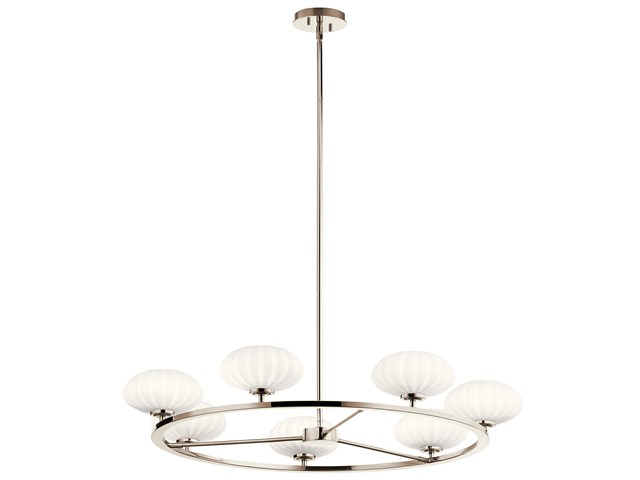 "Pim™ 40"" 7 Light Round Chandelier with Satin Etched Cased Opal Glass Polished Nickel"