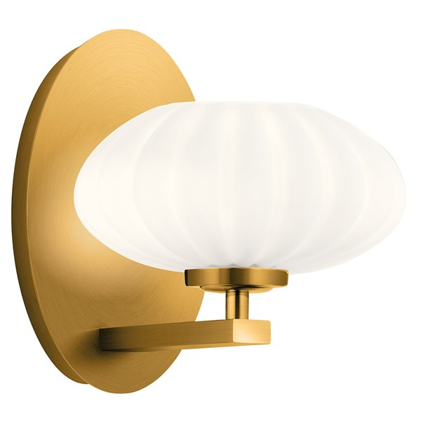 "Pim™ 8"" 1 Light Wall Sconce with Satin Etched Cased Opal Glass Fox Gold"