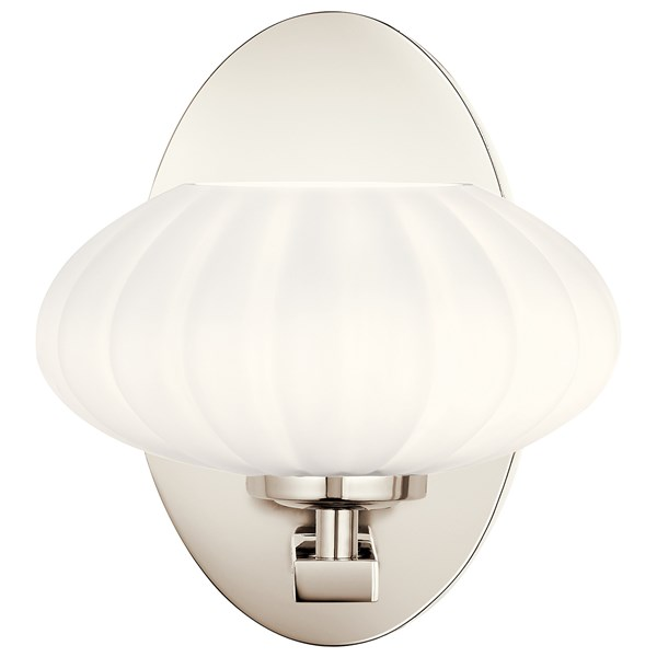 "Pim™ 8"" 1 Light Wall Sconce with Satin Etched Cased Opal Glass Polished Nickel"