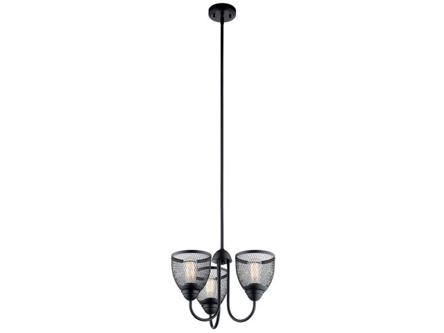 "Voclain™ 12.5"" 3 Light Convertible Chandelier/Semi Flush Black"