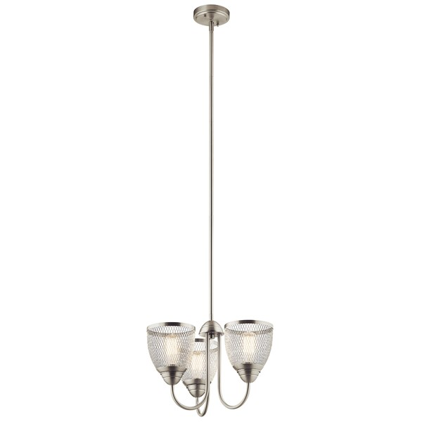 "Voclain™ 12.5"" 3 Light Convertible Chandelier/Semi Flush with Mesh Shade Brushed Nickel"