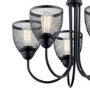 "Voclain™ 17.5"" 5 Light Chandelier with Mesh Shade Black"