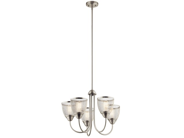 "Voclain™ 17.5"" 5 Light Chandelier with Mesh Shade Brushed Nickel"