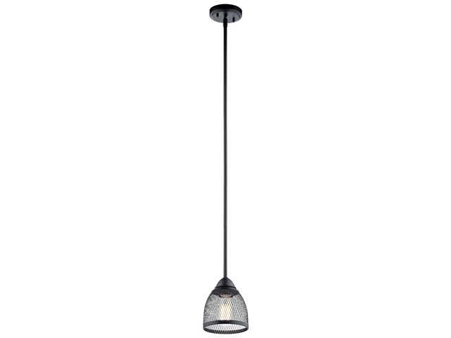 "Voclain™ 7.75"" 1 Light Mini Pendant with Mesh Shade Black"