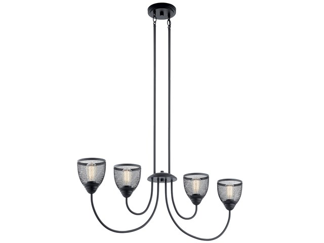 Voclain™ 4 Light Linear Chandelier Black