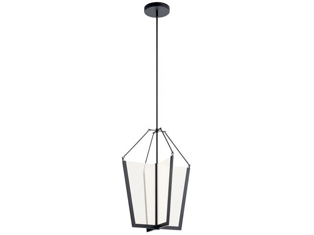 "Calters 28.5"" LED Foyer Pendant Black"