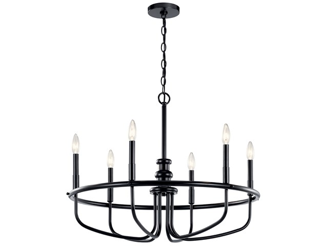 "Capitol Hill 22"" 6 Light Chandelier Black"