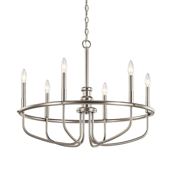 "Capitol Hill 22"" 6 Light Chandelier Brushed Nickel"