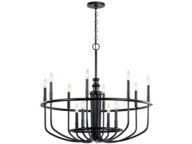 "Capitol Hill 30.75"" 12 Light Chandelier Black"
