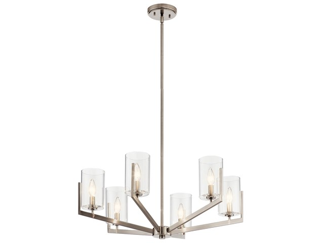 "Nye™ 14.75"" 6 Light Chandelier with Clear Glass Classic Pewter"