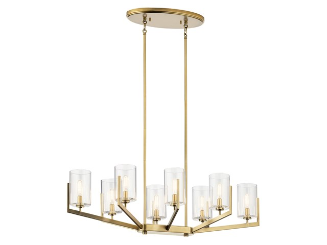"Nye™ 14.75"" 8 Light Oval Chandelier with Clear Glass Brushed Natural Brass"