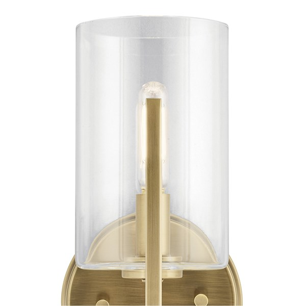 "Nye™ 9.75"" 1 Light Wall Sconce with Clear Glass Brushed Natural Brass"