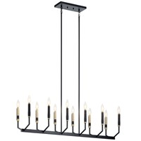 "Armand 42.75"" 12 Light Linear Chandelier Black and Bronze"