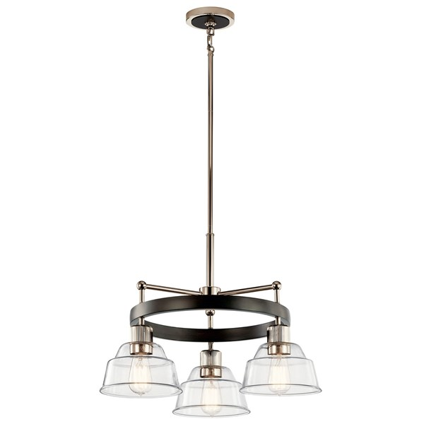 Eastmont™ 3 Light Chandelier with Clear Glass Polished Nickel and Walnut Wood
