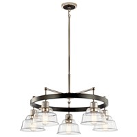 Eastmont™ 5 Light Chandelier with Clear Glass Polished Nickel and Walnut Wood