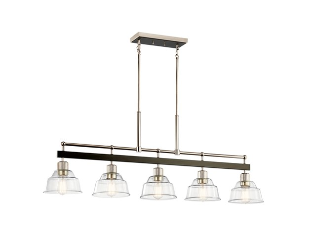 Eastmont™ 5 Light Linear Chandelier with Clear Glass Polished Nickel and Walnut Wood