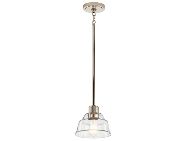 Eastmont™ 1 Light Mini Pendant with Clear Glass Polished Nickel and Walnut Wood