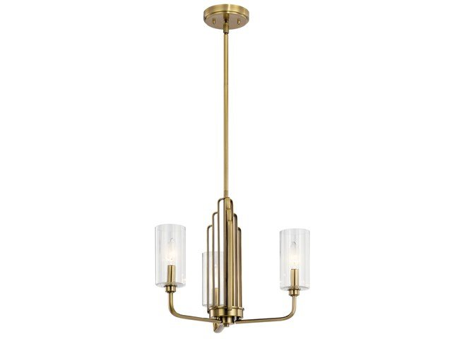 Kimrose™ 3 Light Chandelier with Clear Fluted Glass Brushed Natural Brass