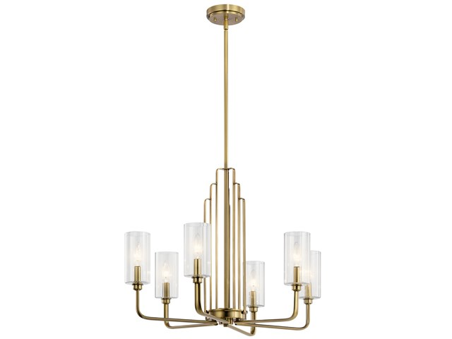 Kimrose™ 6 Light Chandelier with Clear Fluted Glass Brushed Natural Brass