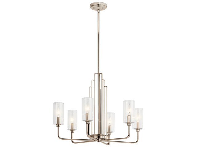 Kimrose™ 6 Light Chandelier with Clear Fluted Glass Polished Nickel and Satin Nickel