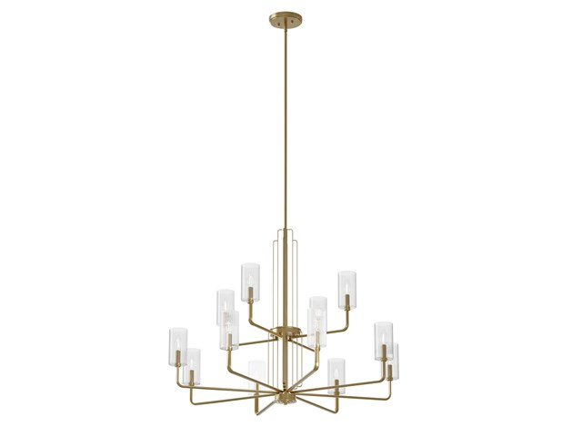 Kimrose™ 12 Light Chandelier with Clear Fluted Glass Brushed Natural Brass