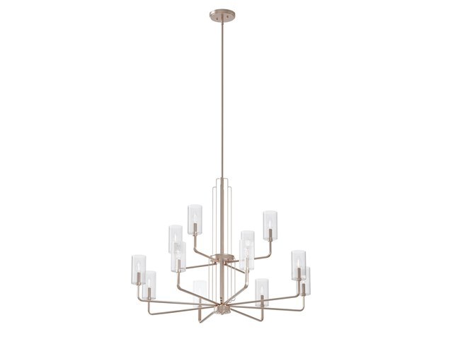 Kimrose™ 12 Light Chandelier with Clear Fluted Glass Polished Nickel and Satin Nickel