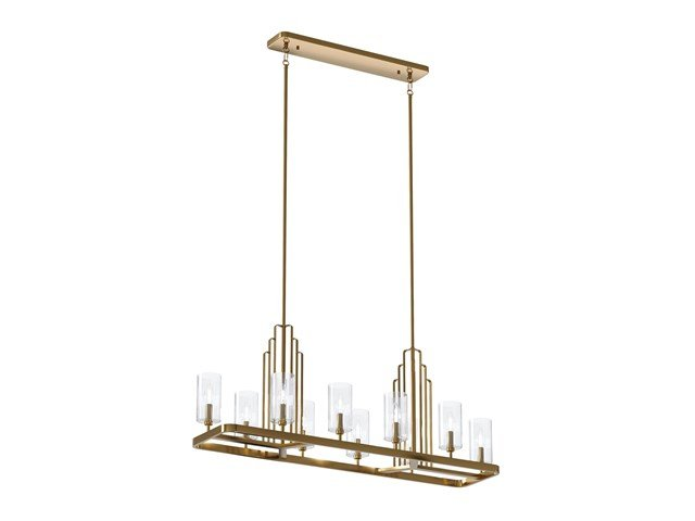 Kimrose™ 10 Light Linear Chandelier with Clear Fluted Glass Brushed Natural Brass