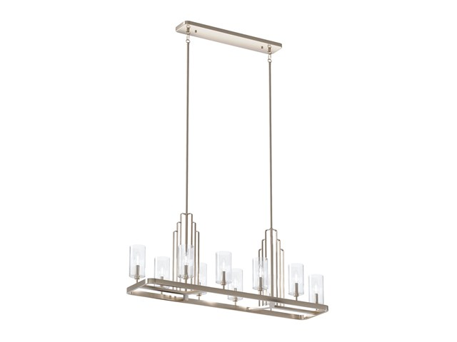 Kimrose™ 10 Light Linear Chandelier with Clear Fluted Glass Polished Nickel and Satin Nickel